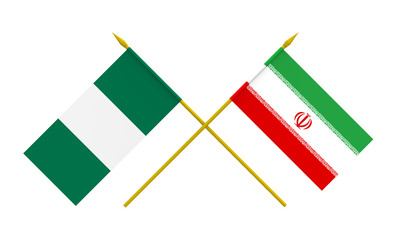 Flags, Iran and Nigeria