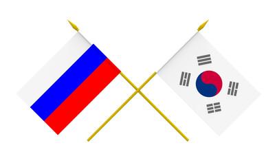 Flags, Russia and Republic of Korea