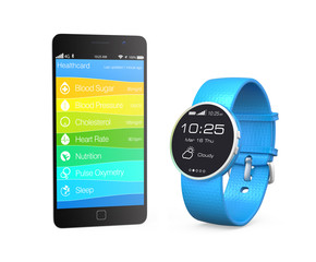 Smartwatch and smartphone which showing healthcare app