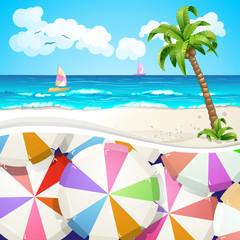 Summer beach covered with umbrella background