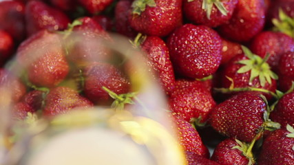 Strawberries and champagne. Macro