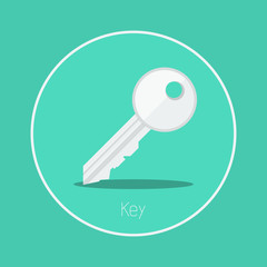 "Key : Vector ""key"" icon flat design"