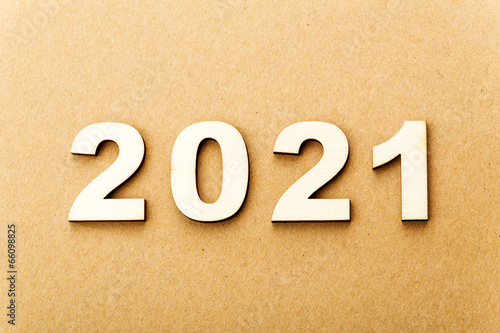 Poster Wooden text for year 2021