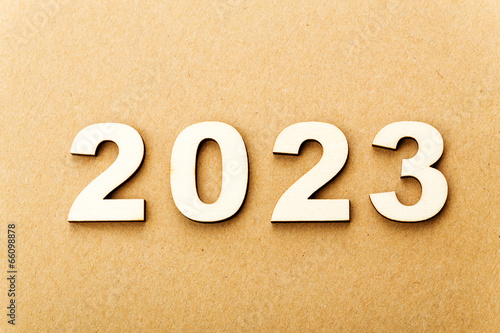 Poster Wooden text for year 2023