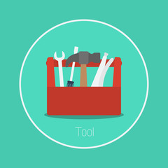 "Tool : Vector ""toolbox"" icon flat design"