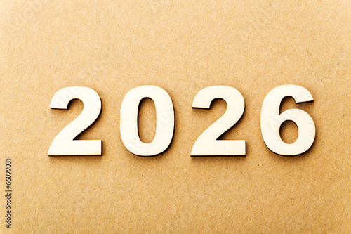 Poster Wooden text for year 2026