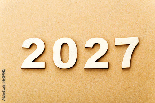 Poster Wooden text for year 2027