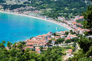 Adriatic town of Baska aerial view, Island of Krk, Croatia