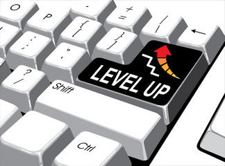 Social media concept: Enter button with level up on computer