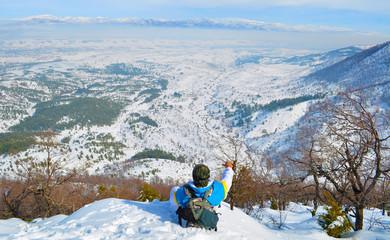 karlı dağlardan bakış