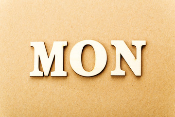Wooden text for Monday