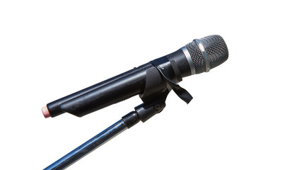 MicroPhone on Stand on White Background