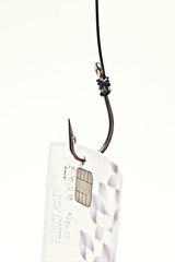 phishing - fish hook with a credit card