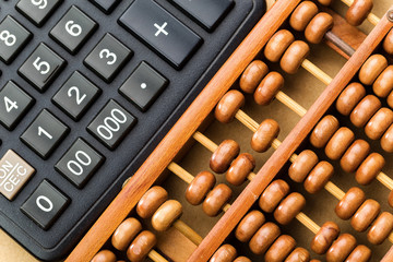 Modern calculator and abacus