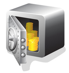 open bank safe with golden coin