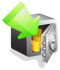 open bank safe with green arrow