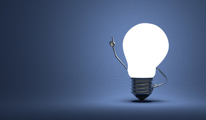 Light bulb character in moment of insight on blue