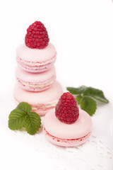 Macaroons with raspberry