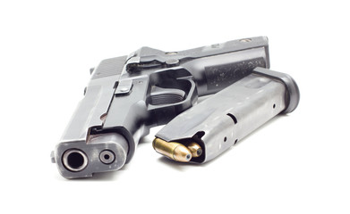 pistol with ammo ,white background