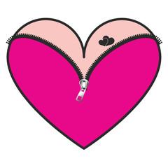 pink Corset with zipper  heart, vector