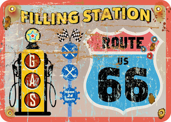 vintage route 66 gas station sign,retro style, vector illustrati