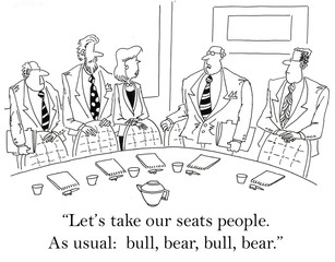 Let's take our seats as usual: bull, bear, bull, bear.
