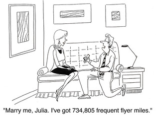 """Marry me... for my frequent flyer miles..."""