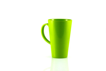 Green plastic cup isolate