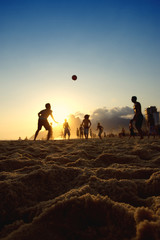 Rio Sunset Silhouettes Playing Altinho Beach Football Brazil