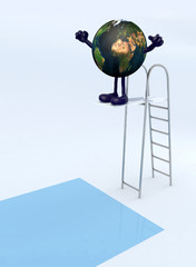 planet earth on trampoline dip in the pool