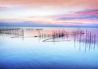 el lago de colores pastel