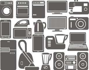 Set of silhouettes of household appliances