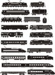 cargo and passenger train silhouettes - 66107455