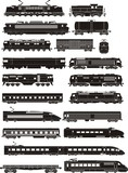 cargo and passenger train silhouettes