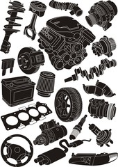 car parts silhouette set