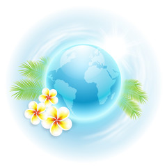 Concept travel illustration with globe, flowers and palm leaves