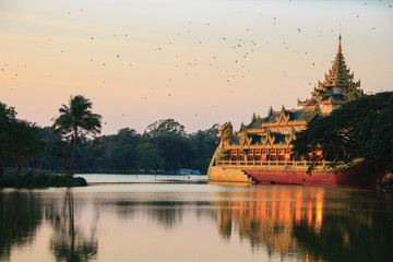 Kandawgyi Lake , Yangon in Myanmar (Burmar)
