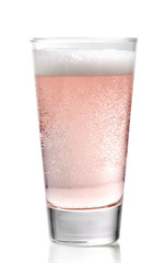 Glass of pink cider
