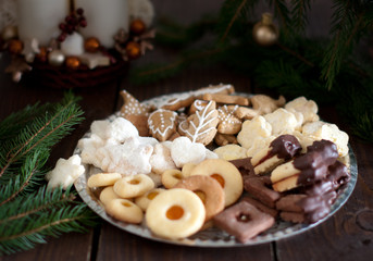 Shortbread Christmas cookies with Christmas decorations