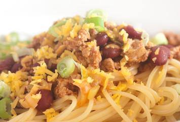 closeup of turkey chilli with spaghetti