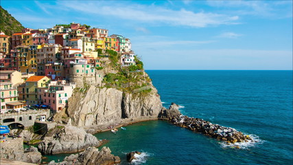 Picturesque view of Manarola, Laguria, Italy in the sunny summer