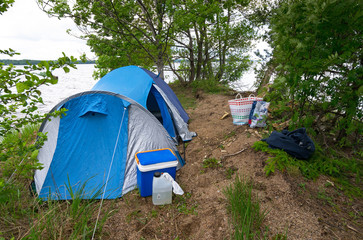 Camp on the Swedish lake island