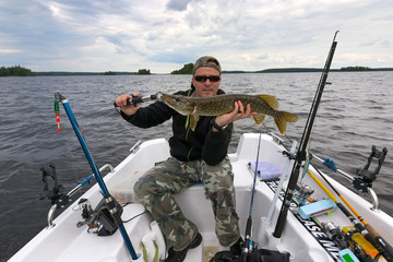 Boat fishing after pike
