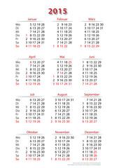 Kalender 2015, einfach, Hochformat