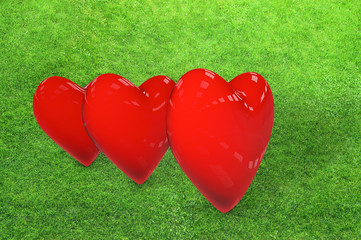 Red hearts - 3D Rendering