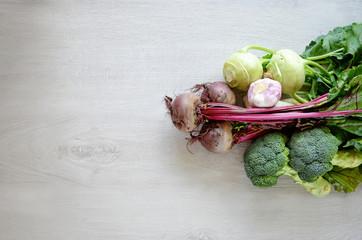 Various vegetables copy space