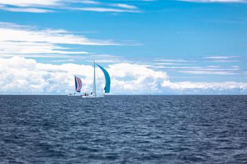 Yacht Regatta at the Adriatic Sea in windy weather