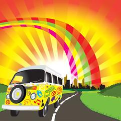 Hippie Van with Icons