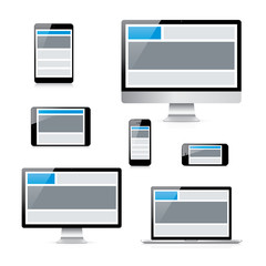 Isolated electronic devices with responsive web design grid