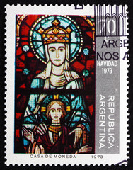 Postage stamp Argentina 1973 Virgin and Child, Christmas
